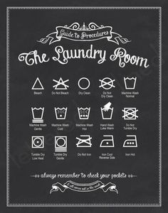 printable for the laundry room with most common care symbols and their meaning