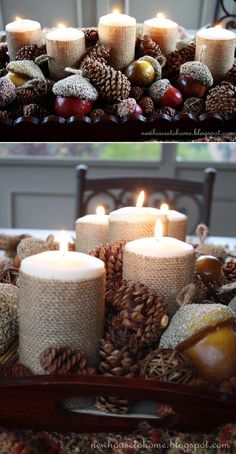 Fall Centerpiece with Burlap Wrapped Candles - 10 DIY Ideas to Bring Fall Coziness to Your Home   GleamItUp