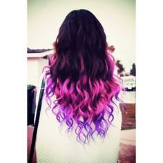 Hair Pink and purple dip dyed hair We Heart It found on Polyvore