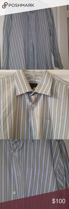Robert Talbott Men's  dress shirt Dark blue, light blue and olive stripes , no stains in excellent  condition.  Dry cleaned. Size 17.5-34 Robert Talbott Shirts Dress Shirts