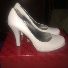 NIB!! White Leather Pumps by Guess Up for sale are these super cute pumps by GUESS by Marciano. White and made of leather. Purchased from Macy's. Literally worn one time...will come with the original box. Make offers!! :) Guess by Marciano Shoes Heels