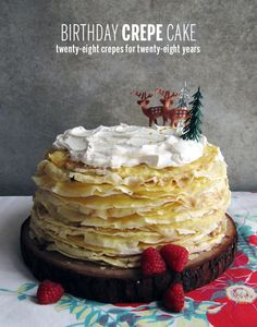 DIY Birthday Crepe Cake: Make a stack of crepes ahead of time, whip up an easy Nutella Frosting filling and serve as an alternative to traditional birthday cake | Take a Megabite