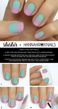 15 amazing step by step nail tutorials nagel hacks, sponge nail art, diy ombre Nails Yellow, Mint Nails, Pink Ombre Nails, Nail Gradient, Nails Turquoise, Pastel Gradient, Ombre Hair, Blonde Hair, Mint Nail Designs