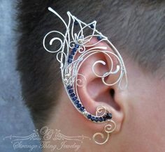 Pair of elf ear cuffs Dreamcatcher - Ear cuff - Elf ears - Fairy ear cuffs - Ear cuff no piercing - Ear wrap Ear Jewelry, Jewelry Crafts, Jewelery, Handmade Jewelry, Jewelry Making, Skull Jewelry, Hippie Jewelry, Wire Ear Cuffs, Elf Ear Cuff