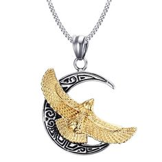 Rock Etched Gold Plated Eagle Moon Pendant Necklace For Men