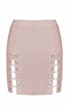 15be6cd2253c4 Honey Couture KYLA Pink Lace Up Split Bandage Mini Skirt