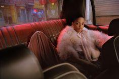 Aya Jones wears pink faux fur jacket in Mango Before Midnight campaign