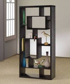 Room Divider Shelf In Black Oak Finish by Coaster Furniture - Black, Coaster, Divider, Finish, Furniture, Room, Shelf