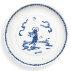 A blue and white 'immortal' dish, Ming dynasty, Tianqi period (1620-1627)