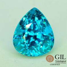 GiL Certified 6.74 ct Natural Blue Zircon Cambodia Awesome Luster S.1 zircon gemstone