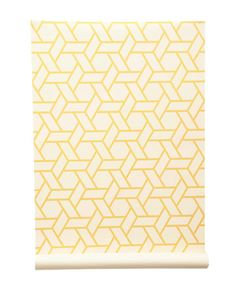 Yellow and white wallpaper. Would look great in walk-in-closet. Would not add to busyness of look in closet. But would add more interest than plain yellow walls.