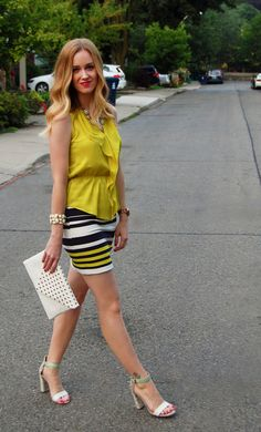 Striped Summer Pencil Skirt and Ruffle Blouse from Ann Taylor