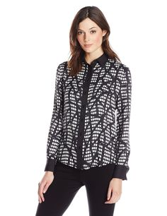aeb3eb07a5214 Anne Klein Women s Inkstone Long-Sleeve Blouse at Amazon Women s Clothing  store