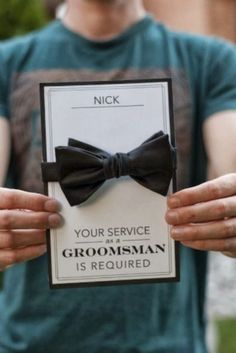Bowties for the groom and groomsmen. Pretty Perfect Will You Be My Groomsman Ideas Wedding Wishes, Wedding Gifts, Our Wedding, Dream Wedding, Wedding Favors, Best Man Wedding, Wedding Stuff, Be My Groomsman, Groomsman Gifts