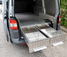 Side by Side Drawers running out of the VW Transporter Van.