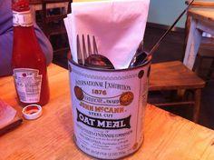 use a steel cut oatmeal tin for cutlery