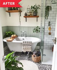 """Then the pair got to work creating a bathroom of """"natural tones and textures."""" They laid ornate black-and-white floor tiles (much more bathroom-friendly flooring!) and added white subway tiles and new soothing green-painted paneling to the walls. Then, they installed that glass-encased walk-in shower and smaller-but-still-dramatic clawfoot tub. Finally, they swapped out the pedestal sink for a small gray vanity, and they brought in many, many houseplants. #beforeandafter Rental Bathroom, Bathroom Renos, Bathroom Inspo, Bathroom Styling, Bathroom Interior Design, Remodel Bathroom, Bathroom Renovations, Decorating A Bathroom, Tile Bathroom Floors"""