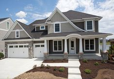 Lap siding is Sherwin Williams SW7047 Porpoise. Shakes and Board & Batten are Sherwin Williams SW7045 Intellectual Gray. Trim is Sherwin Williams SW7005 Pure White. #luxuryrustichomes