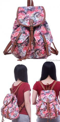 8035ed5dec34 Leisure Rose Floral College Rucksack Flower School Bag Canvas Backpacks for  big sale!  rose