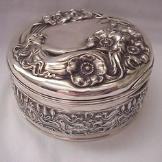 "Rare Unger Bros. ""Queen of the Flowers"" Sterling Jewel Box - Circa 1905"