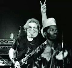 Jerry Garcia and Babatunde Olatunji, famous drummer