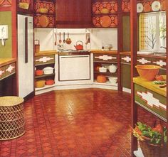 1970s kitchen...Harvest gold, avocado green, and burnt orange. Ugly as sin, but sweetly nostalgic nonetheless (for an old fart like me).