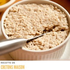 Cretons du Québec ~ meat spread served on toast or ployes ( buckwheat pancakes ) and eaten either at breakfast, lunch or supper. Canadian Dishes, Canadian Food, Canadian Recipes, Canadian Cuisine, Pate Recipes, Cooking Recipes, Xmas Recipes, Cretons Recipe, Buckwheat Pancakes