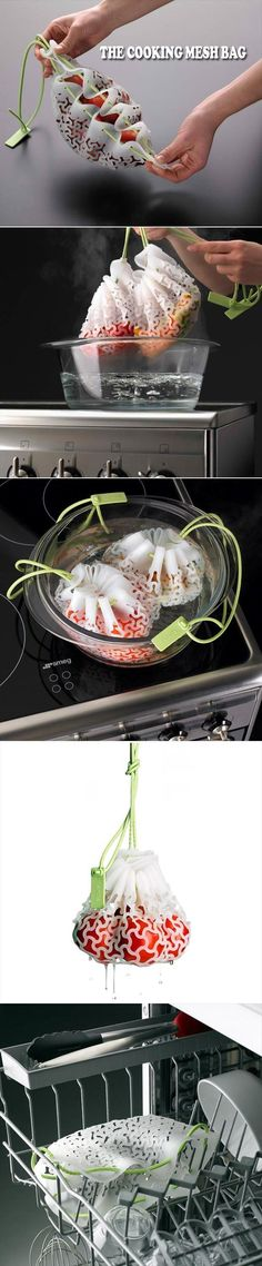 With these silicone cooking mesh you can boil various vegetables separately in water at the same time. Just load the mesh with vegetables or foods, pull the string to close and then sink them in boiling water. It will save your vegetable cooking time and it's totally reusable, nonstick & dishwasher safe. Price $14.99