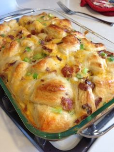 Flaky Breakfast Bake: 5 eggs, 1/4 cup milk, 16oz refrigerated breakfast biscuits (like the Pillsbury flaky kind), 4 scallions, 1 cup shredded extra sharp cheddar cheese, and cooked bacon or sausage. 11×17 pan, sprayed with cooking spray. Bake at 350 for 25 minutes, or until no longer runny.
