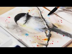 Watercolor Bird Painting Tutorial - Step by Step How To Paint a Chickadee With Watercolours Watercolor Trees, Watercolor Animals, Watercolor Landscape, Watercolor Paintings, Watercolours, Watercolor Portraits, Abstract Paintings, Watercolour Tutorials, Watercolor Techniques