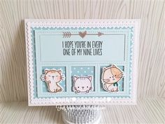 MFT Cool Cat; MFT Blueprints 27; nine lives; trio; window die; blue; soft; scalloped rectangle die; heart and arrow