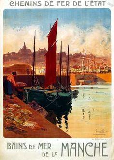 chemins de fer de l'état - Bains de Mer de la Manche - Granville (Manche) - 1921 - illustration de Meunier -