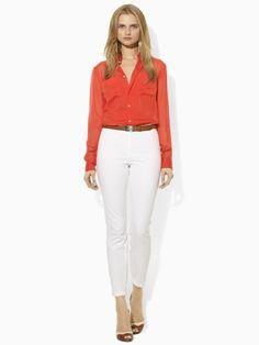 Marina Silk Chiffon Shirt - Blue Label Long-Sleeve - RalphLauren.com a #mommy #splurge at $159 (though originally priced at 265.00)