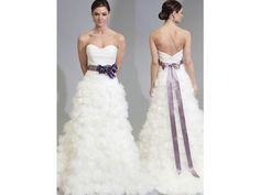 vestido de novia cinta color