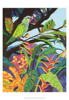 The artwork for the Artisan Range of Island Store products is created by internationally acclaimed contemporary artist, Shari Erikson, who has been privately commissioned by both US and Liat. Tropical Art, Tropical Birds, Tropical Paintings, Caribbean Art, Bird Poster, Wow Art, Naive Art, Bird Prints, Bird Art