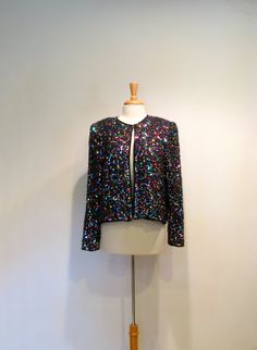 Vintage Black Silk & Multi Color Sequined Jacket