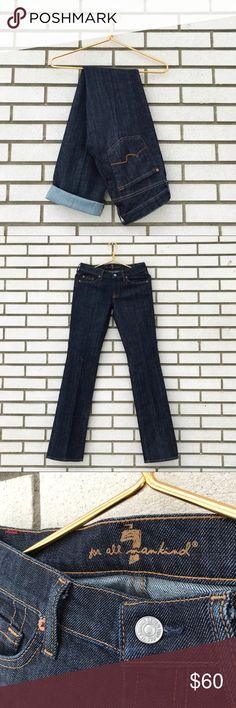 """7 For All Mankind Classic Straight Leg In New York 7 For All Mankind Classic Straight Leg in New York Dark Five pocket styling. Belt loops. Zip fly with button closure. Dark wash. Size 27. Excellent used condition, like new. **These jeans are marked as damaged, I can find NO flaws except for the right knee, which has white thread. Otherwise in apparent unworn condition.** Measurements  Inseam 35"""" Rise 8"""" Waist 15"""" Leg opening 7.75"""" across 7 For All Mankind Jeans Straight Leg"""