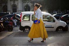 Street Style: Maxi volume yellow skirt at Paris Fashion Week, Spring 2014.
