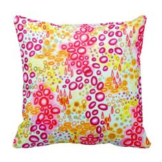 CIRCULAR PERSUASION Island Tropical Bubble Pattern Throw Pillow Decorative Fun Pretty in Pink Bold Toss Cushion Decoration Bedroom Bedding, Fine Art Ocean Beach Seaside Coastal Underwater Tropical Vacation Fun Home Decor, Whimsical Hot Pink Plum Purple Bold Orange Sunshine lemon Yellow Pattern Colorful Cushion, Pretty Stylish Modern Feminine Chic Girlie Dorm Room Style