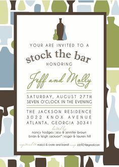 Stock the Bar Shower Invitation by camaddisondesigns on Etsy, $13.00