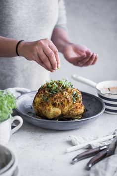 Butter Roasted Whole Cauliflower With Hot Garlic Sauce - Cook Republic