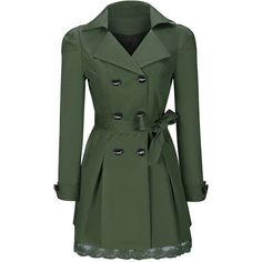 Lapel Bowknot Double Breasted Plain Trench Coat (110 RON) ❤ liked on Polyvore featuring outerwear, coats, jackets, coats & jackets, casacos, long lapel coat, green trench coat, double breasted long coat, double-breasted coat and lapel coats