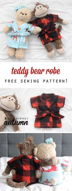 stuffed animal & teddy bear robe {free sewing pattern} - It's Always Autumn This is adorable! Free stuffed animal or teddy bear robe pa Sewing Patterns Free, Free Sewing, Sewing Tutorials, Bear Patterns, Sewing Tips, Sewing Ideas, Sewing Hacks, Kids Patterns, Pattern Sewing