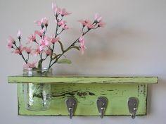 Another Mason jar shelf - love them. DIY w/ reclaimed wood planks, distressed paint and utility hooks  **SPAM LINK*** but still cute shelf idea