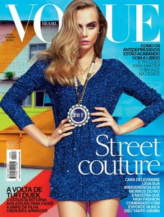 Cara Delevingne on the cover of Vogue Brazil February 2014 by Jacques Dequeker