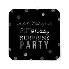 Silver Confetti & Black Surprise Birthday Party Square Sticker