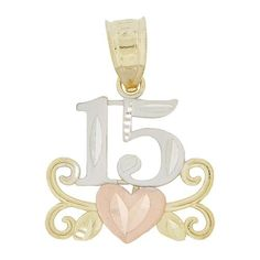 14k Tricolor Gold, Heart Design 15 Anos Quinceanera Pendant Charm With Sparkly Cuts GiveMeGold. $120.64. It makes a wonderful Quinceanera gift.. Yellow and rose gold with white rhodium accents contrast beautifully on the pendant.. Genuine 14k gold. NOT plated or filled. A gift box is included with purchase.. Sparkly cuts and elegant styling make it a perfect pendant for all occasions.