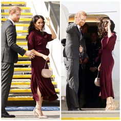 Meghan's wore a gorgeous burgundy dress on their flight to New Zealand 😍