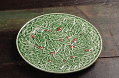 Bordallo Pinheiro Green Holly with Red Berries by dinaandpartners