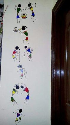 Wall Painting Decor, Diy Wall Painting, Fabric Painting, Madhubani Art, Madhubani Painting, Wall Drawing, Art Drawings, Mural Art, Wall Art